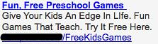 Ad #1 - Preschool Games