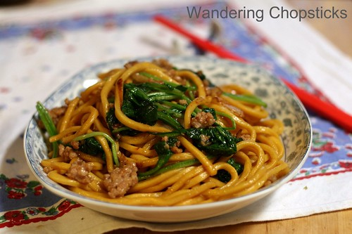 Shanghai Noodles with Ground Pork, Spinach, and Onions 2