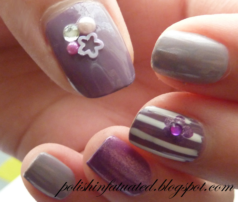 purple nail art skittle3