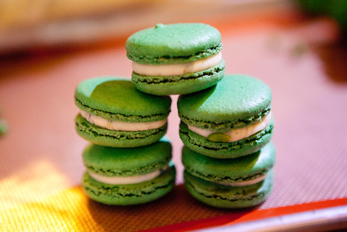 Stack of just made pea & mint macarons