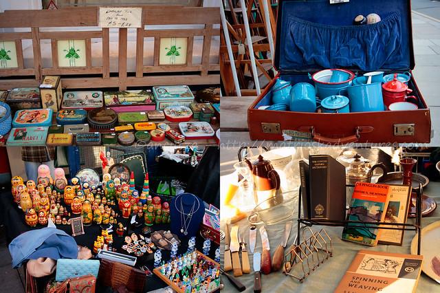 collage foto banchi mercatino portobello londra