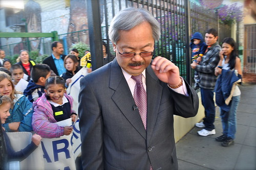 Mayor Ed Lee leads the walk to Marshall Elementary
