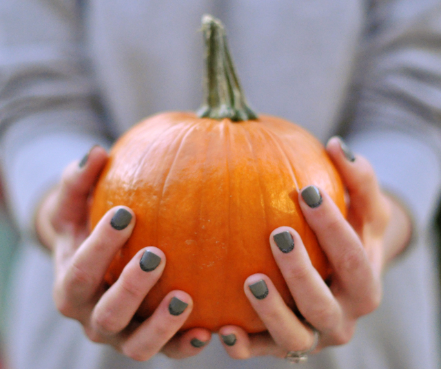 Gray Glitter Nails holding a little pumpkin