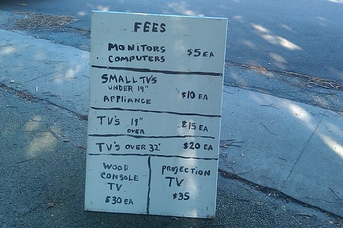 Electronics Recycling - fee schedule