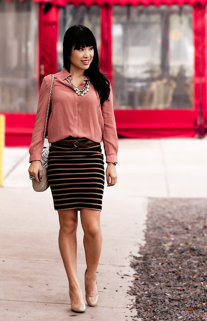 forever 21 love 21 semi-sheer pink chiffon button up, forever 21 camel black striped bodycon skirt, forever 21 brown braided belt, yesstyle sarah quilted purse, mk5430, forever 21 pearl statement necklace