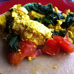 Tofu scramble on jaggery dosa