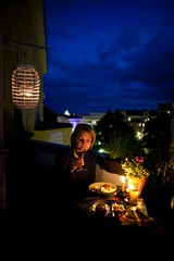 252nd photo (Matt) Tags: woman beer glass night dinner table evening salad helsinki candle kallio wine drink dusk balcony beverage alcohol juuli canoneos5dmkii