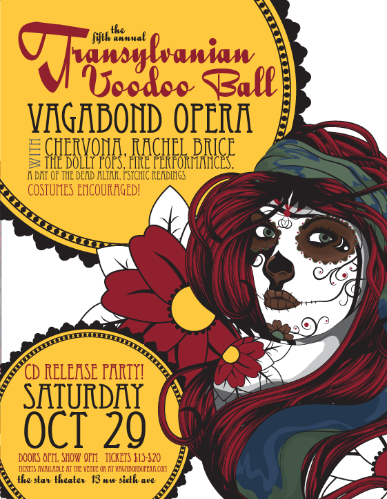 October 29: Vagabond Opera's Transylvanian Voodoo Ball @ Star Theater | Chervona, Rachel Brice, Tarot Readings, Costumes