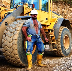 swiss worker taking a break (Farmerbaer) Tags: hardhat hairy husky beefy burly buff bearded sturdy rubberboots rugged builder brawny muscled bauarbeiter hairychested stocky baustiefel swissworker swisshunk