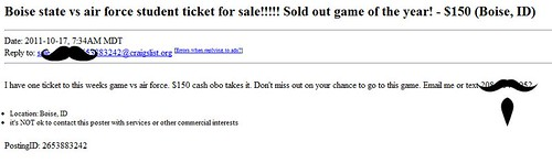 Boise state vs air force student ticket for sale!!!!! Sold out game of the year!