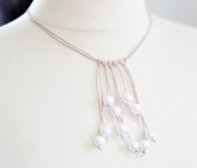 pearl and raw leather  drop necklace diy
