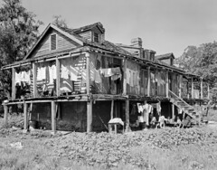 Rookery (Trepagnier House) (History Rambler) Tags: poverty family bw house home architecture rural vintage louisiana sad south poor 8x10 plantation loc antebellum decayed creole stcharlescounty francesbjohnston