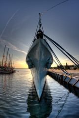 (PeterJot) Tags: sky cloud reflection water sunrise blog ship poland vessel transportation nautical tiedup gdynia shipsbow pomorskie