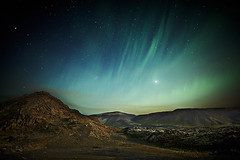 Aurora borealis over Blfjll (LalliSig) Tags: autumn sky cloud brown mountain black green yellow night clouds stars landscape lights star iceland nightscape hills aurora northern borealis