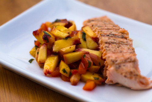 Grilled Swordfish & Grilled Peach & Red Pepper Salsa