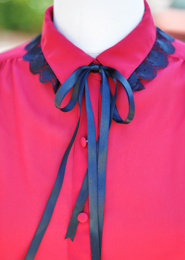 DIY black lace collar and ribbon over vintage red blouse