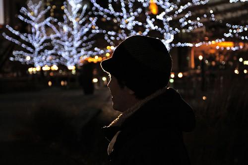Man and Winter Urban Light