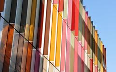 modern art (Margaret Stranks) Tags: uk colours oxford architects coloured brisesoleil universityofoxford hawkinsbrown newbiochemistrybuilding