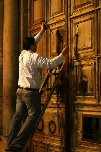 Locking the Door to the Church of the Holy Sepulchre
