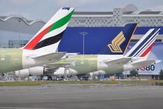 A380s outside production hall (DigitalAirliners.com) Tags: uae emirates a380 ek af sq sia tls airfrance singaporeairlines afr lfbo a380861 fwwst fwwab msn067 msn098 fhpjg 9vskq a380841 msn079