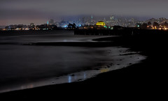 paint it black (pbo31) Tags: sanfrancisco california black color reflection beach skyline night dark nikon tide september shore bayarea palaceoffinearts presidio crissyfield 2011 d700