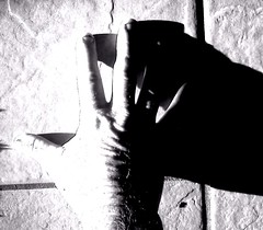 0914110743_b (ShockDocCA) Tags: light shadow portrait bw me contrast self work hand finger weathered scars
