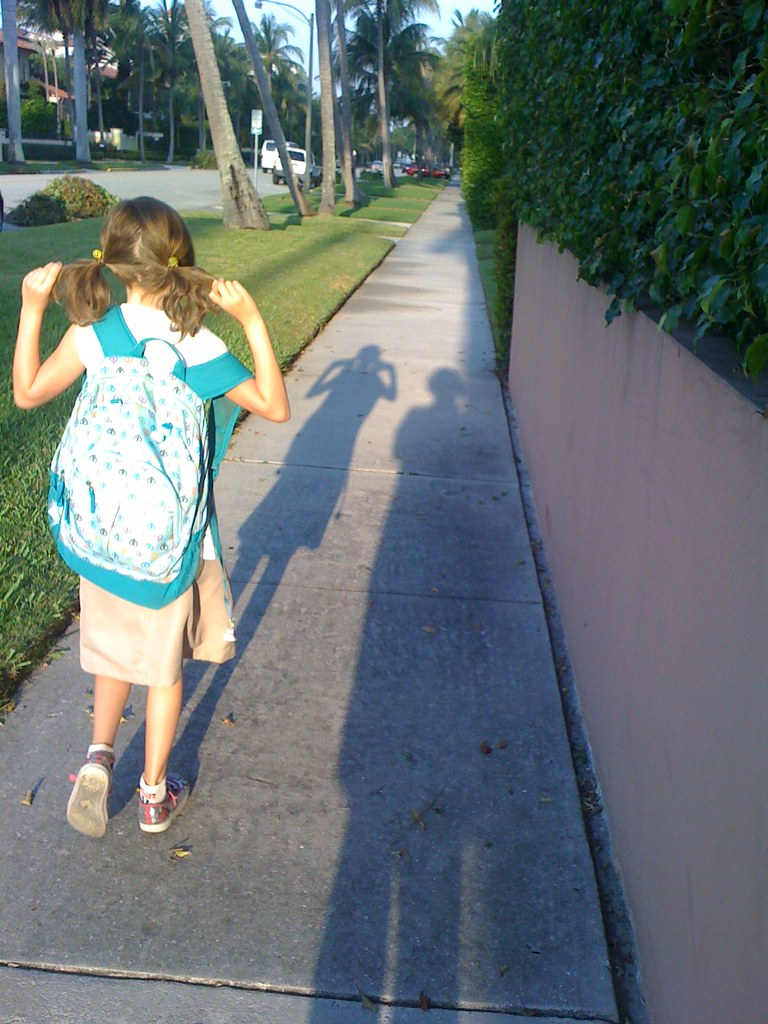 Walking to school shadows