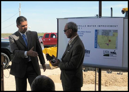 Lower Valley Water District General Manager David Carrasco (left) and USDA Rural Development Texas State Director Paco Valentin discuss the obligation of funding for Phase 2 of this project.