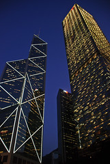 Meet the Scrapers, Hong Kong (Rajesh Vijayarajan Photography) Tags: china scrapers buildings hongkong skyscrapers mtr darkbluesky windowofopportunity centralmtrstation nikond80 shotatdusk rajeshvijayarajan rajeshvijayarajanphotography rajeshvj