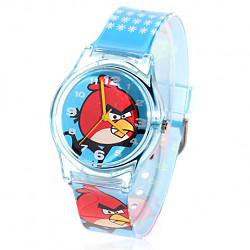 White Numerals Hour Marks Rubber wrist band Wrist Watch With Red Angry Bird