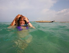 Discovery (lovemyblackcat) Tags: sea beach water smile israel bikini  habonim