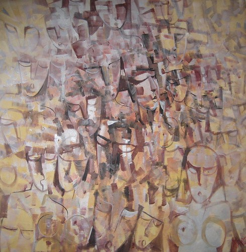 In the Crowd - Painting - Cubism