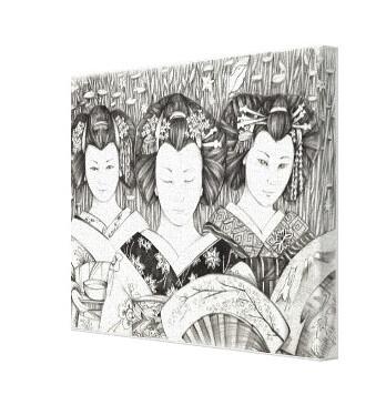 Lienzo Geisha abanicos