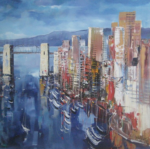 Burrard Bridge, Vancouver - Painting - Inpressionsim