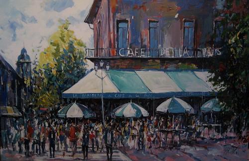 Cafe de la Paix - Painting - Impressionism