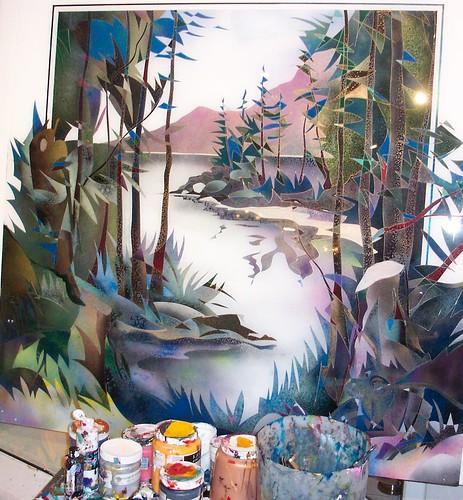 West Coast Trees - Painting Original  Plexiglass