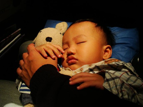 撐了一整天終於在飛機起飛和小兔一起時睡著了
