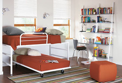 Loft Bed & Trundle on Casters (Heath & the B.L.T. boys) Tags: orange white bed chair desk shelves kidsroom casters