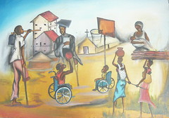 "This is the painting I got for GDPU when I left. It was done by a local artist in Gulu, Timothy, based on the theme ""Disability is not Inability."""