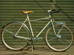 Amber's Selavy Profile (guidedbybicycle) Tags: leather bicycle handmade steel fork moustache rack frame commuter archer custom fenders saddle handlebars brooks capricorn honjo porteur 650b sturmey