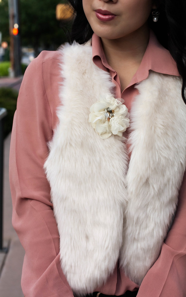 forever 21 love 21 semi-sheer apricot button up, olsenboye faux fur white vest, h&m mustard cropped pants, sole society marco santi dash nude pumps, mk5430, tjmaxx vieta lucille buckle satchel, enzo milano 25mm clipless wand