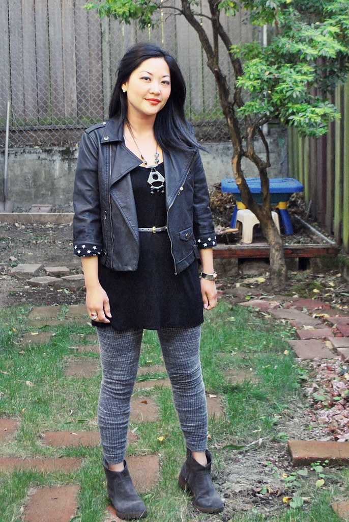 Outfit - Retro - Moto Jacket - Gray Leggings - Black Tunic - Gray Ankle Boots - Fall