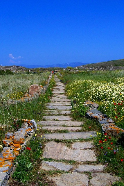 Ancient Greek road, Island of Delos Greece
