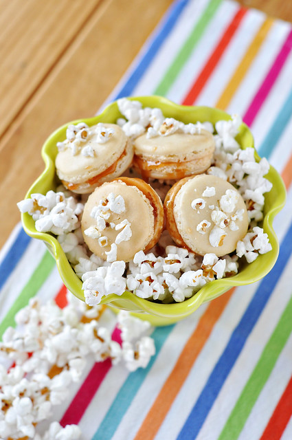 Salted Popcorn Carmel Macarons