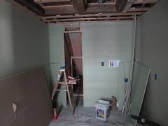 bathroom walls! (elizajanecurtis) Tags: bathroom walls renovation homeimprovement sheetrock downstairsbathroom greenboard wallboard