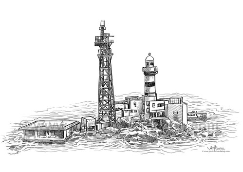 digital sketch of Pedra Branca lighthouse for Singapore Navy - A4 (watermark)