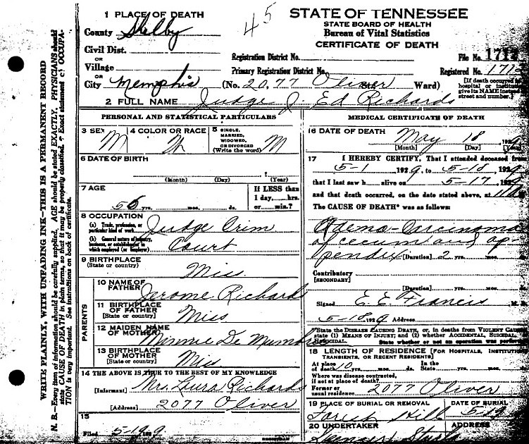 Judge Jerome Edward Richards Death Certificate