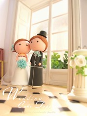 Wedding Cake Topper-love bride and groom (charles fukuyama) Tags: wedding art miniature couple handmade anniversary tuxedo clay bouquet swarovski custom buttonhole dollhouse brideandgroom sculpted headdress cakedecoration weddingcaketopper claydoll fullveil humancaketopper