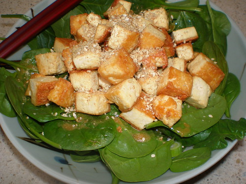 Tantalizing Tofu and Spinach Salad