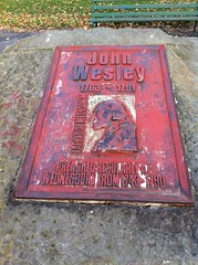 Photo of John Wesley red plaque